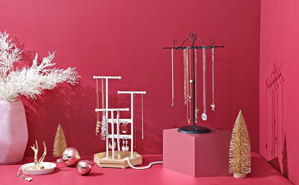 SONGMICS Porte-Bijoux, Présentoir Bijoux, en Métal Bois Colliers, Bracelets, Boucles d'Oreilles